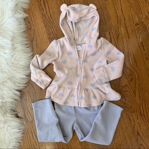 Children's Place Bear Ears Fleece Hoodie Set 3T